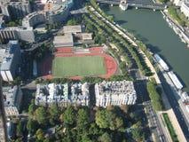 Stadium from top. Stadium in Paris shot from top stock photo