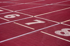 Stadium track. Competitive sports stadium starting line the runway Stock Photos