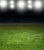 Stadium under the bright focuses Royalty Free Stock Images