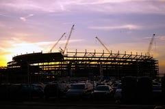 Stadium Under Construction at Sunset royalty free stock photo