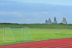 Stadium of Vik city, Iceland. Stadium of Vik, Iceland on the backgroung of Reynisdrangar Rocks Stock Images