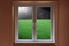 Stadium in window Royalty Free Stock Image