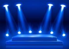 Stadiumpodium met verlichting, de Scène van het Stadiumpodium met voor Toekenningsceremonie op blauwe achtergrond vector illustratie