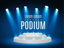 Stadiumpodium met verlichting, de Scène van het Stadiumpodium met voor Toekenningsceremonie op blauwe Achtergrond, Vectorillustra royalty-vrije illustratie