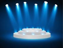 Stadiumpodium met verlichting, de Scène van het Stadiumpodium met voor Toekenningsceremonie op blauwe Achtergrond, Vectorillustra vector illustratie