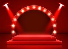 Stadiumpodium met verlichting, de Scène van het Stadiumpodium met voor Toekenningsceremonie op rode Achtergrond vector illustratie