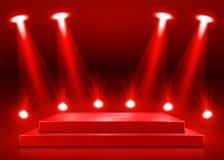 Stadiumpodium met verlichting, de Scène van het Stadiumpodium met voor Toekenningsceremonie op rode Achtergrond stock illustratie