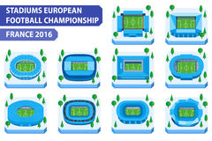 Stadiums european football championship. France 2016. Stadiums european football championship stock illustration