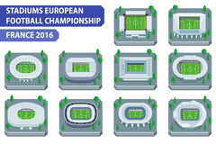 Stadiums european football championship. France 2016 stock illustration