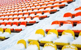 Stadiums winter covered with snow Stock Image