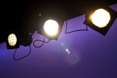 Stadiumslichter mit Blendenfleck Stockfotografie