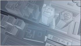 Stadmitt överst av dygnet stock illustrationer