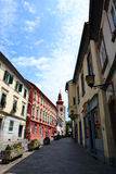 Stadmitten och tornet Ptuj Styria slovenia Arkivfoton