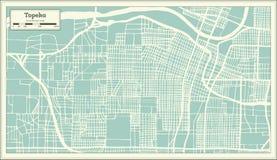 Stadsöversikt för Topeka Kansas USA i Retro stil skisserar kartlägger Royaltyfri Bild