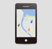 Stadsöversikt med ben, mobil app Royaltyfri Fotografi