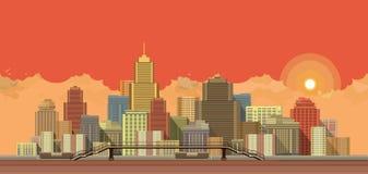 Stads achtergrondavond vector illustratie