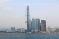 Stads- arkitektur i Hong Kong Victoria Harbor Royaltyfri Bild