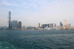 Stads- arkitektur i Hong Kong Victoria Harbor Arkivbilder