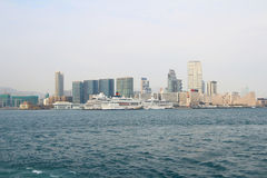 Stads- arkitektur i Hong Kong Victoria Harbor Arkivfoton