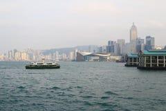 Stads- arkitektur i Hong Kong Victoria Harbor Royaltyfri Foto
