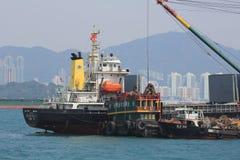 Stads- arkitektur i Hong Kong Victoria Harbor Royaltyfria Bilder