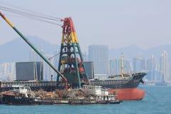 Stads- arkitektur i Hong Kong Victoria Harbor Royaltyfri Fotografi