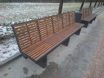 Stads- bänk i parkera i vinter Royaltyfri Bild