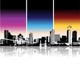 stads- bakgrundscityscape vektor illustrationer