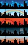 stads- banersamlingstown stock illustrationer
