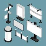 Stads 3d aanplakborden Van de de bannersraad van straattekens van het de publiciteits vectormodel het lege isometrische malplaatj stock illustratie