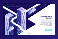 Stads- datastad, molnlagringsbegrepp, serverrumkugge, datorhall, databas, isometrisk vektor för bigdata stock illustrationer