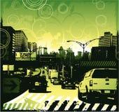 Stads- design för trafikstockning Arkivbild