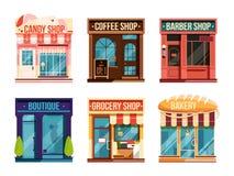 Stads- diversehandeluppsättningisolat på vit bakgrund Affärsdetaljhandel också vektor för coreldrawillustration stock illustrationer