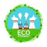 Stads- ekologi Eco vänlig kemikalie och metallurgical bransch stock illustrationer