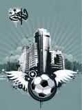 Stads- fotbollbakgrund för Grunge stock illustrationer