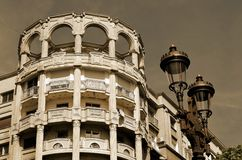 Stads- gammal marmorarkitektur i sepia Fotografering för Bildbyråer