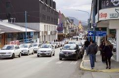 Stads- gata i Ushuaia, Argentina Royaltyfri Fotografi