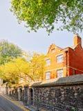 Stads- gata med huset och staket i London royaltyfri bild