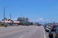 Stads- gataplats i Texas, Amerikas förenta stater Boulevard i Galveston, Texas, Lone Star tillstånd royaltyfria bilder