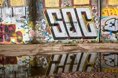 Stads- graffitti i Glasgow 2016 Arkivfoton