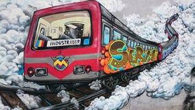 Stads- grafitti - Bucharest gammalt gångtunneldrev Royaltyfri Foto