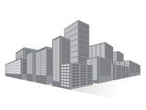 Stads het Bedrijfsdistrict Van de binnenstad, Vlakke Vector Royalty-vrije Stock Foto's