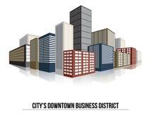 Stads het Bedrijfsdistrict Van de binnenstad, Vlakke Vector Royalty-vrije Stock Afbeelding