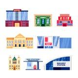 Stads in het buitenland verblijvende gebouwen, geplaatste pictogrammen Gemeentelijke die onroerende goederenvoorwerpen op witte a royalty-vrije illustratie