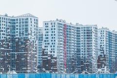 Stads het stedelijke hoge gebouwen moderne bulding van de stad Brede hoekmening en blauwe tint straatsigh Vector illustratie cros Royalty-vrije Stock Foto's