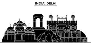 Stads- horisont för Indien Delhi arkitektur med gränsmärken vektor illustrationer