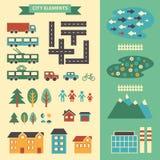 Stads infographic elementen De vectorstadselementen voor leiden tot uw eigen stadskaart Creeer uw eigen stad! Breng elementen voo vector illustratie