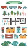 Stads infographic elementen De vectorstadselementen voor leiden tot uw eigen stadskaart Creeer uw eigen stad! Breng elementen voo Stock Fotografie