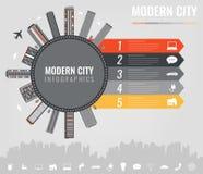 Stads infographic elementen Moderne stadsinfographics Slimme stad Het malplaatje van de conceptenwebsite Vector Royalty-vrije Stock Afbeelding