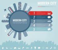 Stads infographic elementen Moderne stadsinfographics Slimme stad Het malplaatje van de conceptenwebsite Vector Royalty-vrije Stock Foto